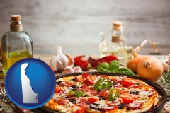 delaware map icon and a gourmet pizza