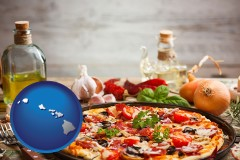 hawaii map icon and a gourmet pizza