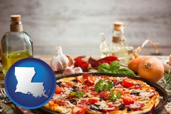louisiana map icon and a gourmet pizza