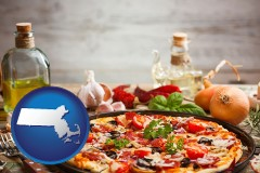 massachusetts map icon and a gourmet pizza