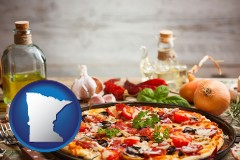 minnesota map icon and a gourmet pizza