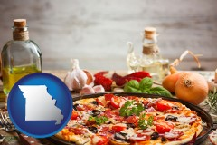 missouri map icon and a gourmet pizza