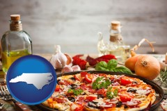 north-carolina map icon and a gourmet pizza