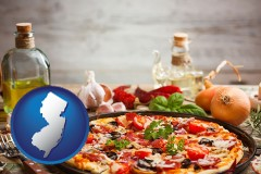 new-jersey map icon and a gourmet pizza