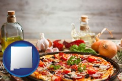 new-mexico map icon and a gourmet pizza
