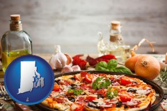 rhode-island map icon and a gourmet pizza