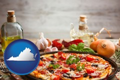 virginia map icon and a gourmet pizza